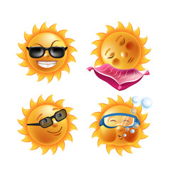 Sun smiles cartoon emoticons and summer emoji vector