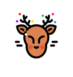 thin line christmas deer vector image