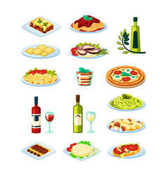 traditional italian food set oysters with sauce vector image