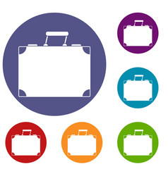 Travel bag icons set vector