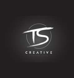 Ts brush letter logo design artistic handwritten vector