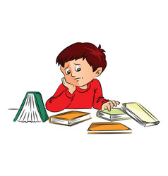 Unhappy boy with books on desk vector