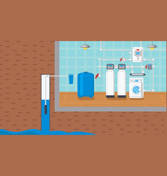 Water supply and purification system vector