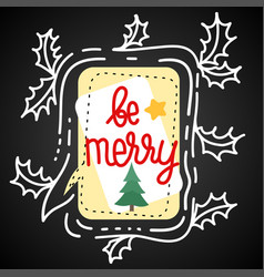 with speech bubble holly leaves vector image