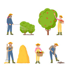 woman farming man icons set vector image