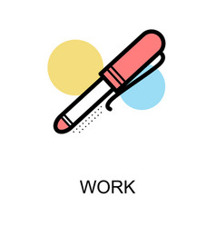 work icon with pen on white background vector image