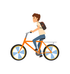 young man with backpack riding bicycle sport vector image