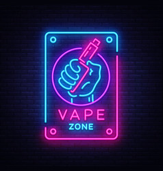 Zone vaping neon sign template light vector