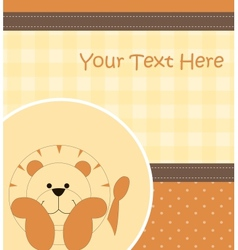 Card with cartoon lion vector image vector image