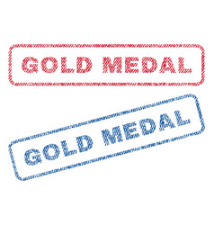 gold medal textile stamps vector image vector image