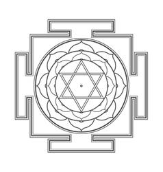 black outline Bhuvaneshwari yantra vector image