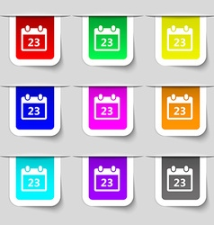 calendar page icon sign Set of multicolored modern vector image vector image