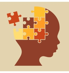 Color Puzzle Human Head Silhouette vector image