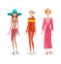 girls in beach clothes sports suit home clothes vector image