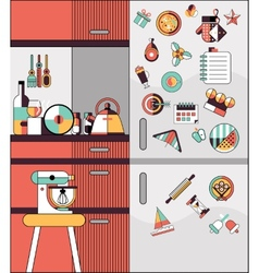 Kitchen interior flat line vector image vector image