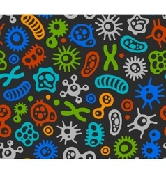 Microbes Virus and Bacteria Color Seamless vector image