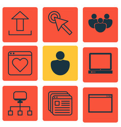 Set of 9 internet icons includes send data vector