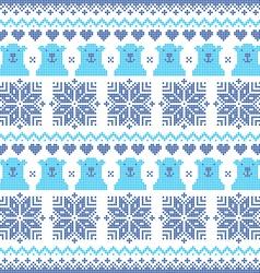 Winter Christmas navy blue seamless bear pattern vector image