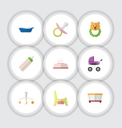flat kid set of nipple tissue stroller and other vector image vector image