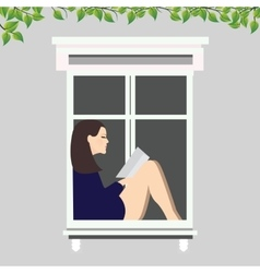 girl reading book sitting at the window vector image vector image