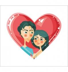 lovers in heart vector image vector image
