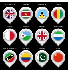 Map marker with flag-set fourth vector image vector image