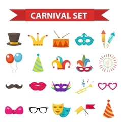 Party icons design element flat style Carnival vector image vector image