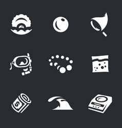 Set of pearl farm icons vector