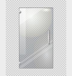 Transparent door on grey checkered background vector