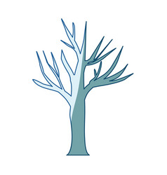 blue shading silhouette of dry tree vector image