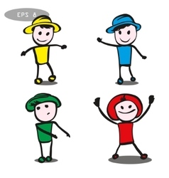four different poses of stick man vector image