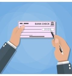Man hands with pen writing check bank payments vector image