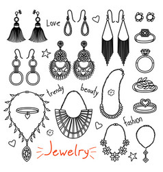 set of hand drawn women accessories jewelry vector image