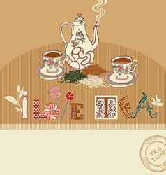 Vintage tea time greeting card vector image