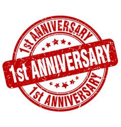 1st anniversary red grunge stamp vector