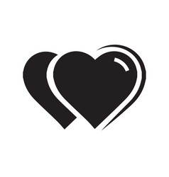 2 heart icon black color vector image