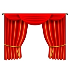 3d red luxury silk curtain realistic interior vector