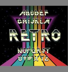 80 s retro alphabet font rainbow vintage alphabet vector image