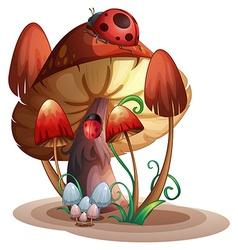A mushroom with a ladybug vector image