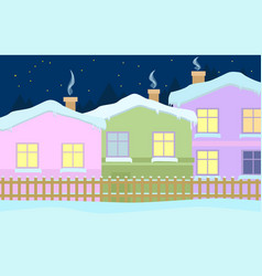 a quiet winter evening in the village vector image