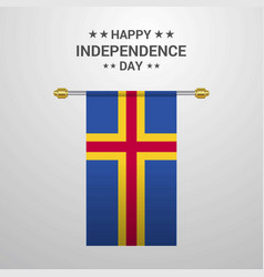 Aland independence day hanging flag background vector