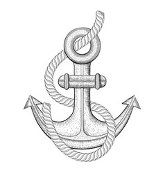 anchor with rope hand drawn sketch vector image