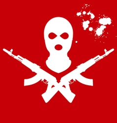 Balaclava and two crossed ak-47 terrorists mask vector