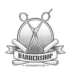 barbershop logo with big scissors vector image