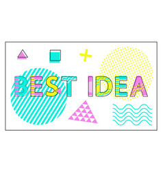 best idea banner with geometric figures and lines vector image
