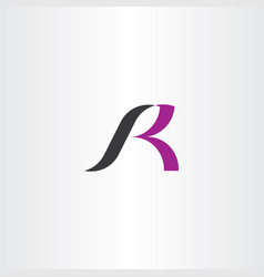 black purple logo r letter icon vector image