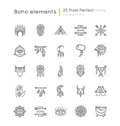 Boho style pixel perfect linear icons set native vector