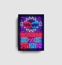 boxing flyer design template boxing night light vector image