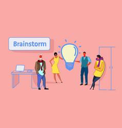 Businesspeople group meeting brainstorming process vector