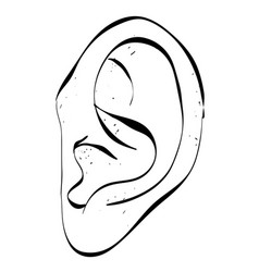 Cartoon image of human ear vector